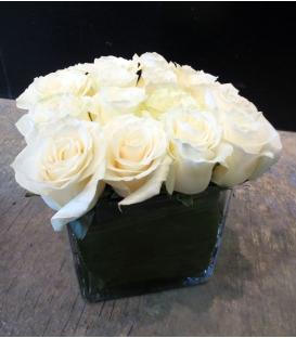 white square fresh roses