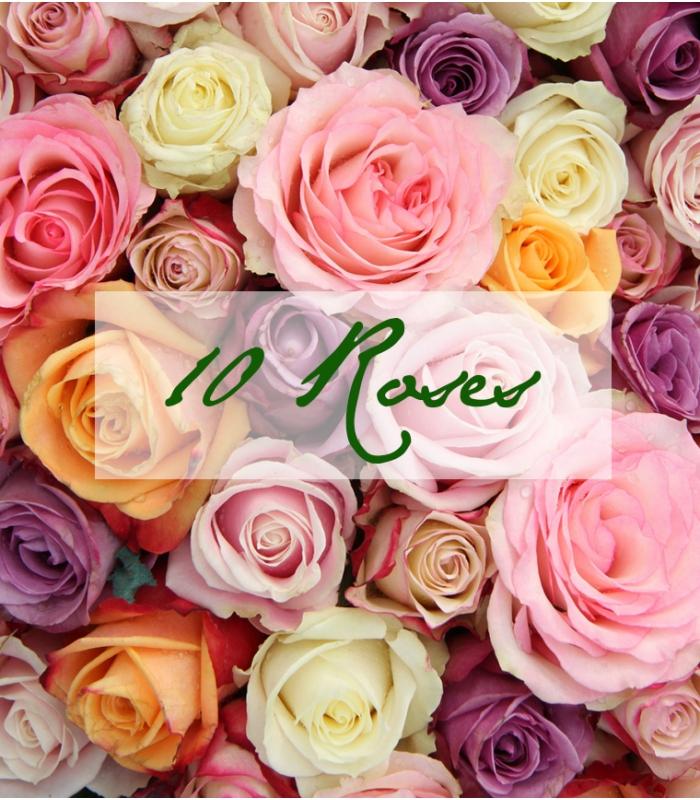 f te des m res 10 roses bouquet de roses color es. Black Bedroom Furniture Sets. Home Design Ideas