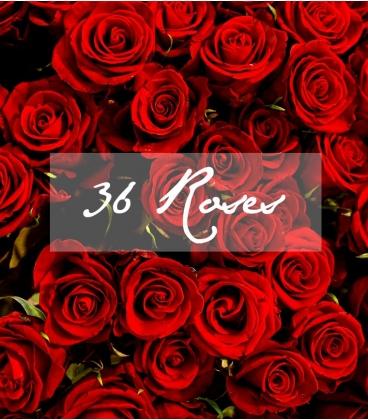 BOUQUET SAINT-VALENTIN 36 ROSES ROUGES LONGUES